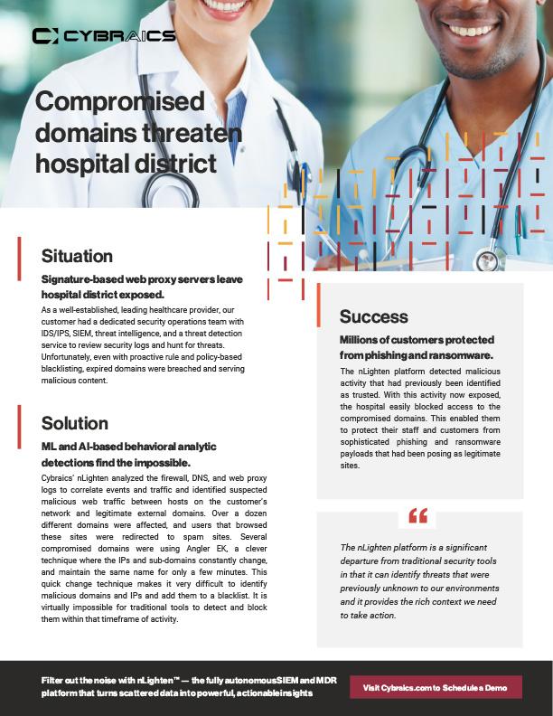 Cybraics Healthcare Domain Compromise Customer Success