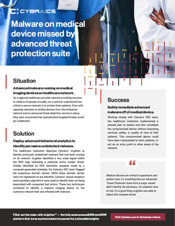 Cybraics Healthcare Malware Customer Success